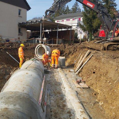 Tiefbau Rombach Küttigen Wohnüberbauung Bachverlegung Kanalisation