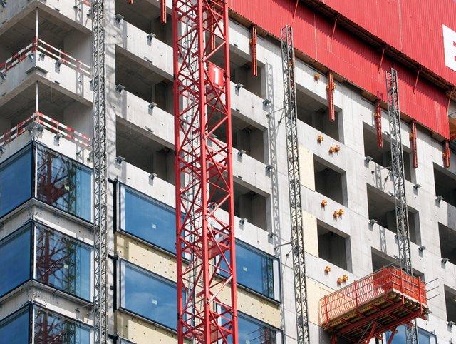 Hochbau Baustelle Fassade im Rohbau Biozentrum Basel