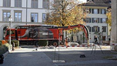 """Saugbagger-Einsatz für das ETH-Forschungsprojekt """"Rock Print Pavillon"""""""