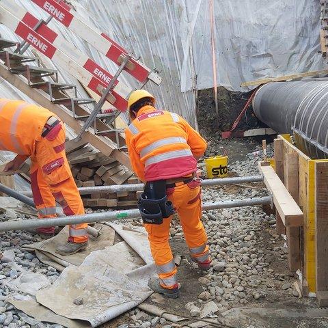 Wallbach Tiefbau Transitgas Umbau