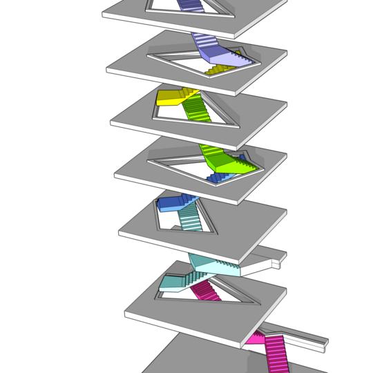 Hochbau Basel Roche BIM Modell der Kommunikationstreppe