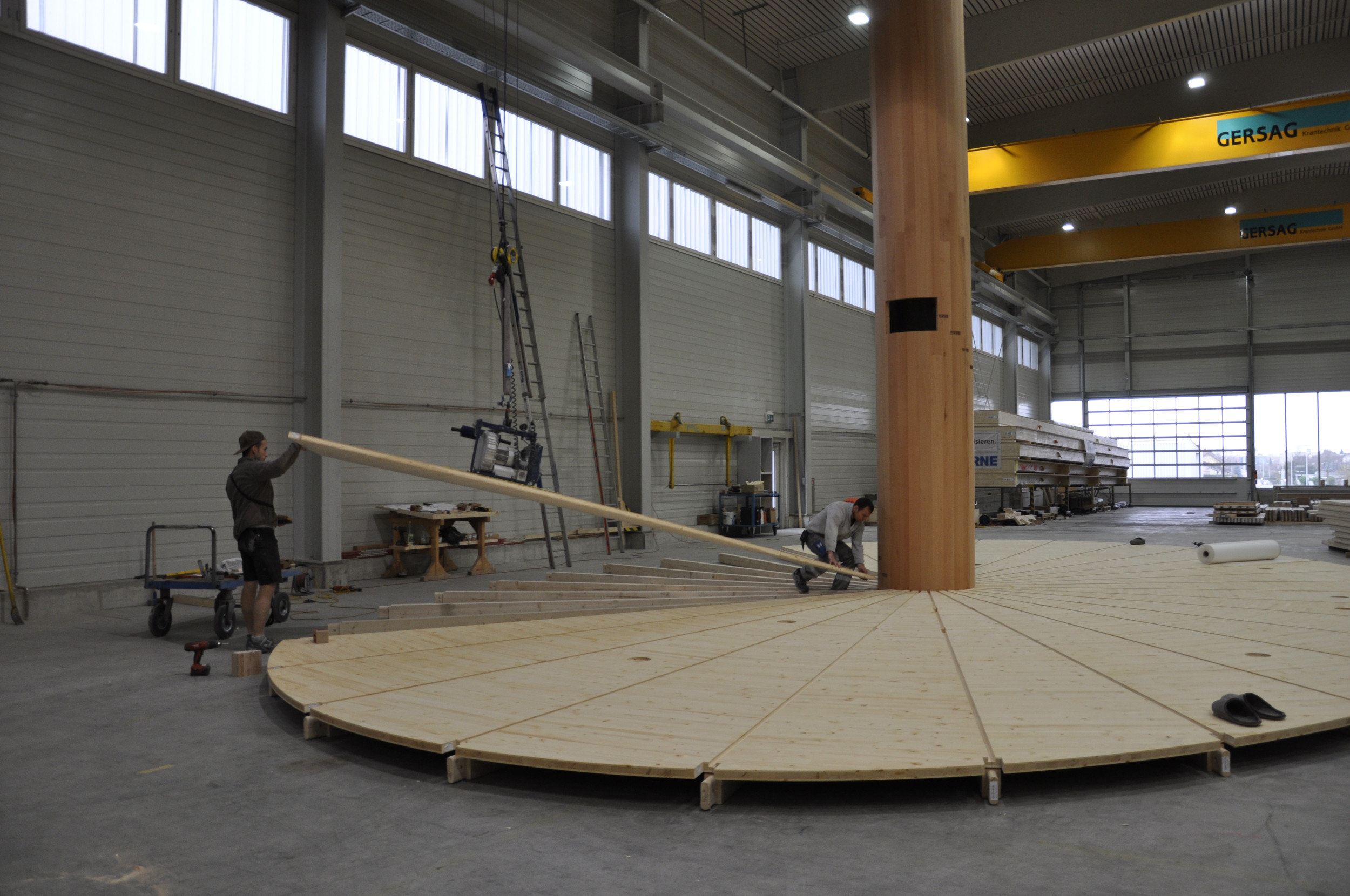 Bau Pavillon elliptischer Grundriss Boden