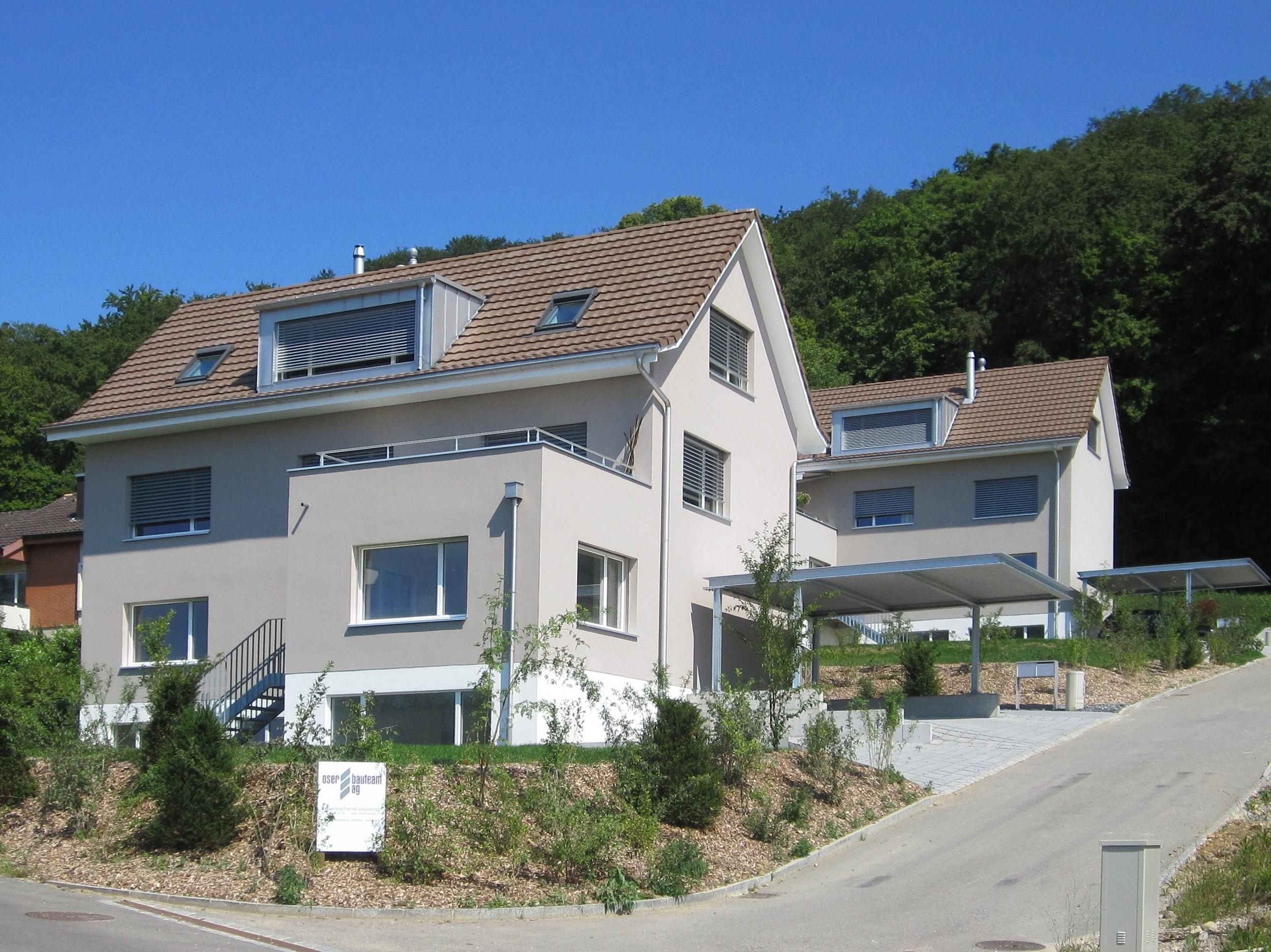 2 Doppeleinfamilienhäuser mit Aussenwänden in Stahl-Leichtbauweise