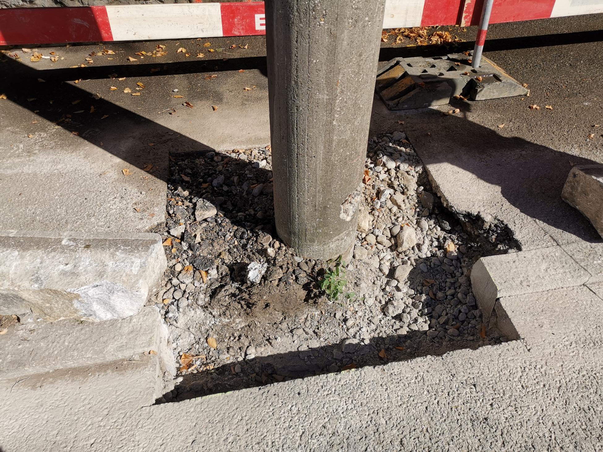 Beton-Instandsetzungsarbeit an Betonpfeilern auf Oltner Baustelle