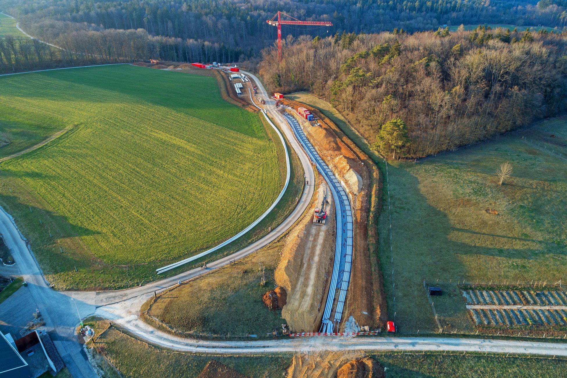 Neubau Boezberg Gaebihuebel eine Luftaufnahme