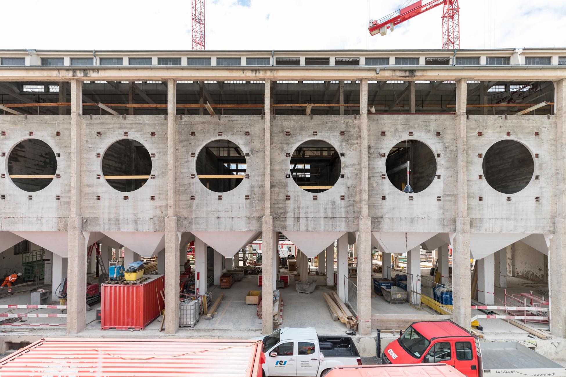 Umbau Silo Erlenmatt Basel Bohren-Trennen Fenster Aussenansicht