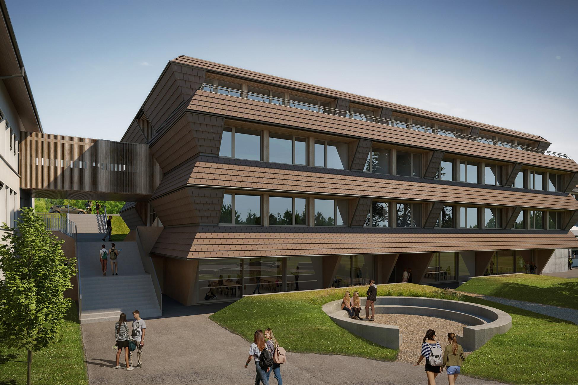 Totalunternehmerauftrag Bonstetten Neubau Sekundarschulhaus Visualisierung