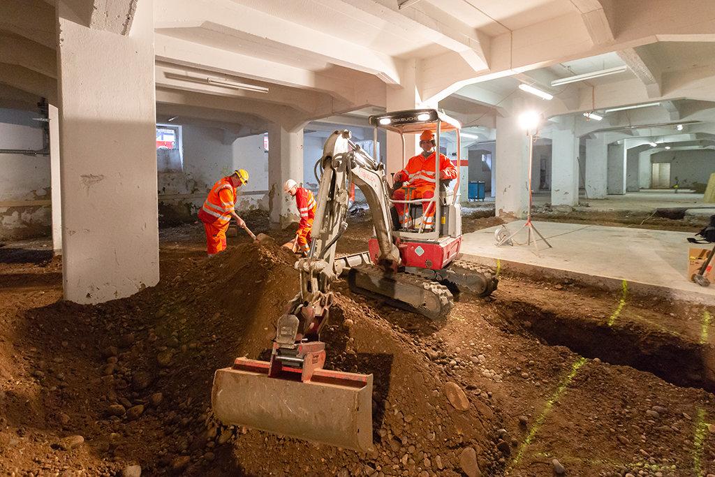 Basel Umbau Silo Erlenmatt Tiefbau Bagger