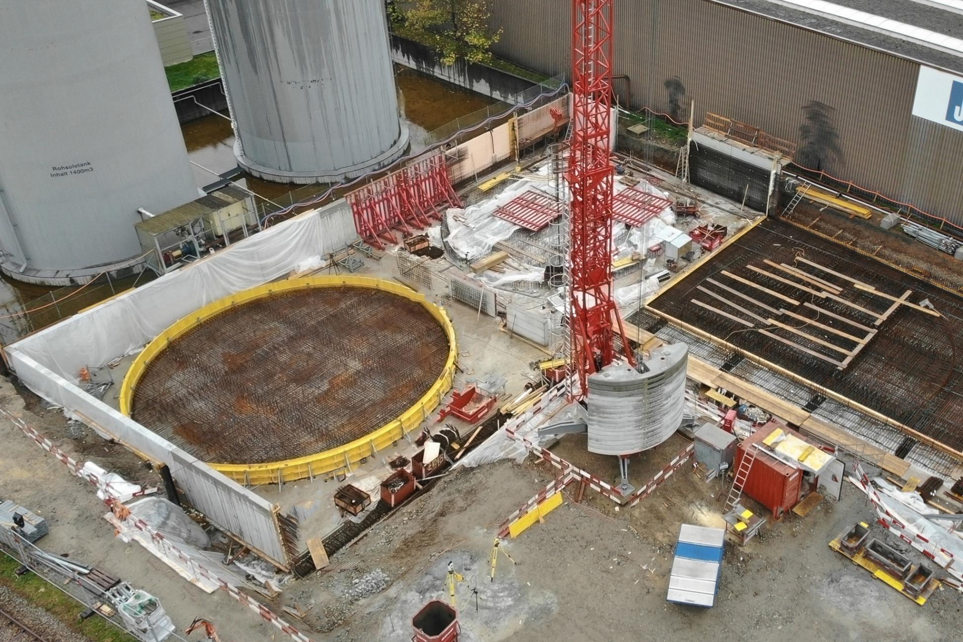 Rheinfelden Neubau mit Spezialschalung für Tanksockel