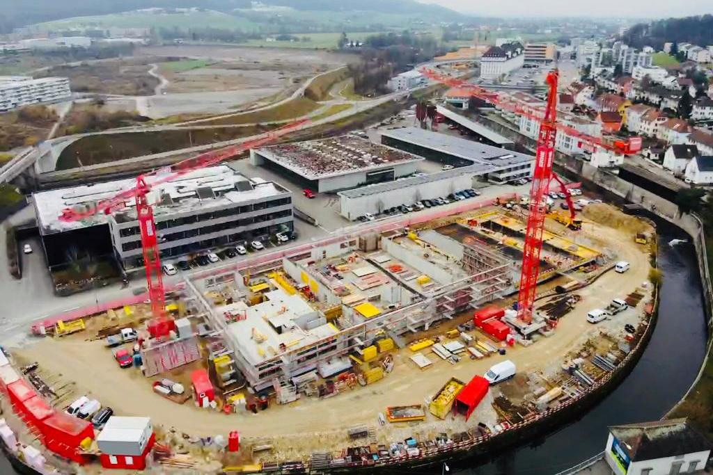 Hochbau Olten Neubau Betriebsgebäude a.en Übersicht Baustelle