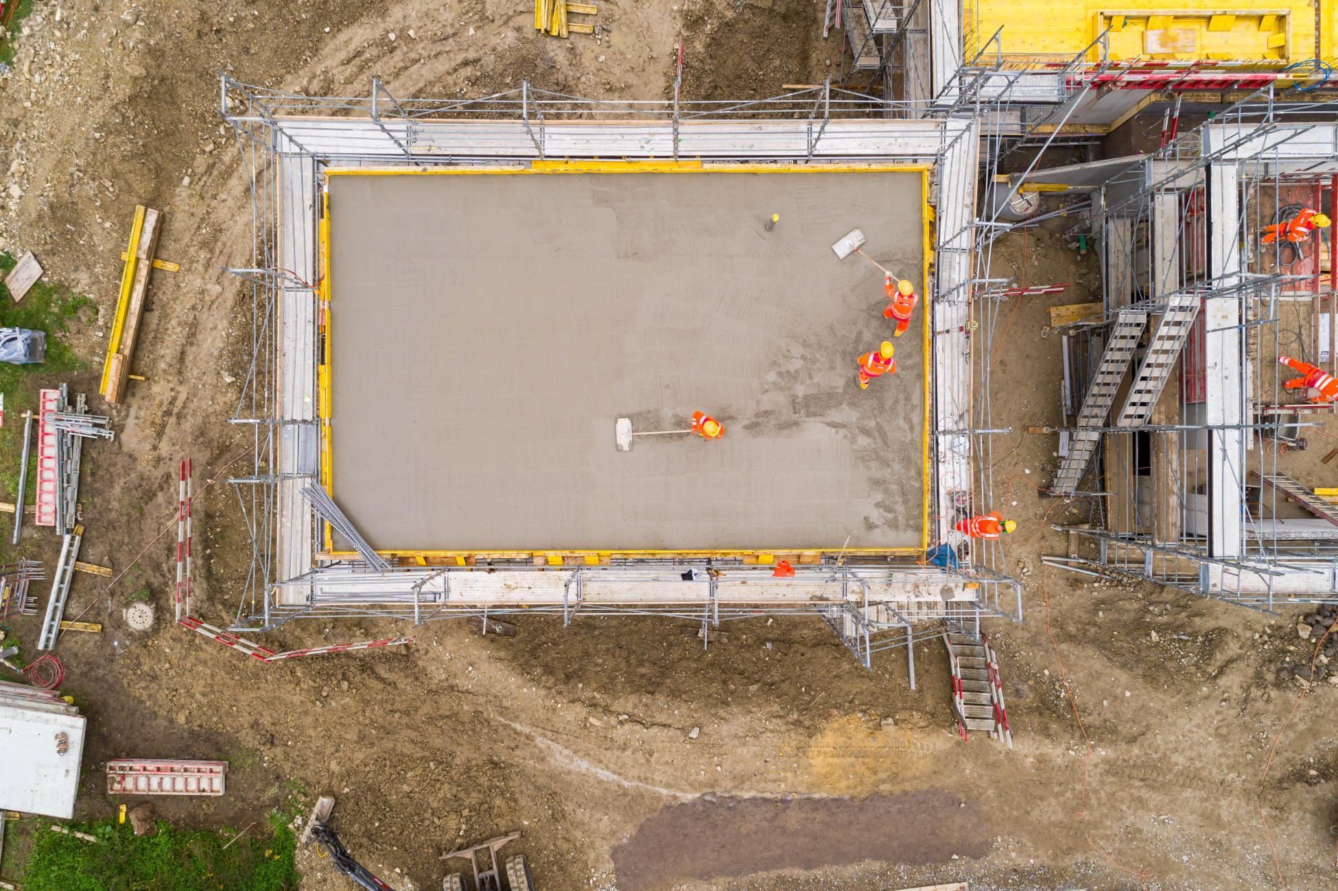 Laufenburg Lehrlingsbaustelle Decke betonieren Luftbild
