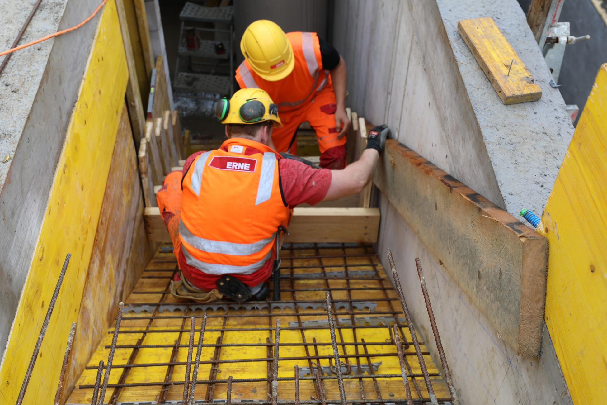 Laufenburg Lehrlingsbaustelle Treppe schalen