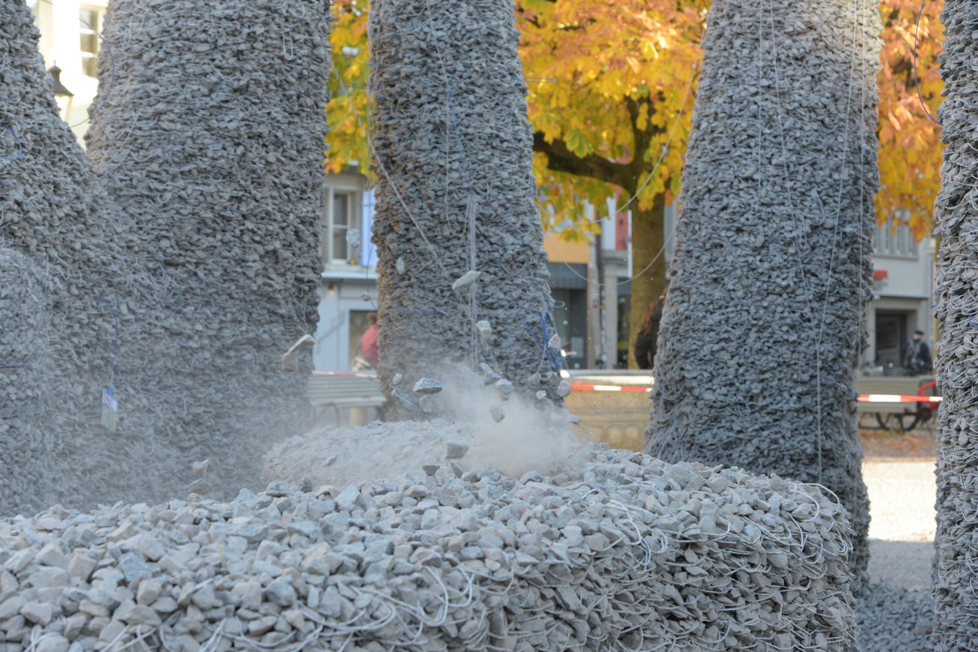 Rückbau Rock Print Pavillon Saugbagger Einsatz
