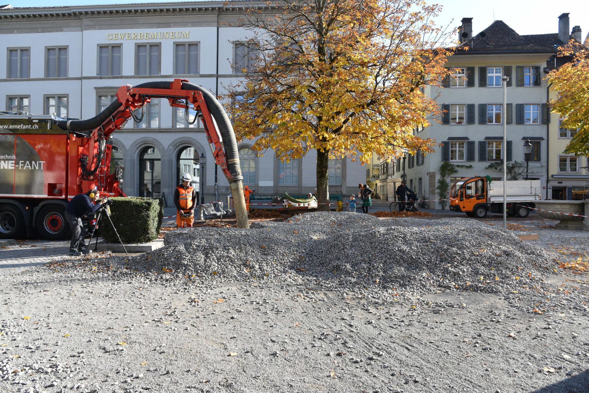 Saugbagger-Einsatz Rock Print Pavillon, Winterthur