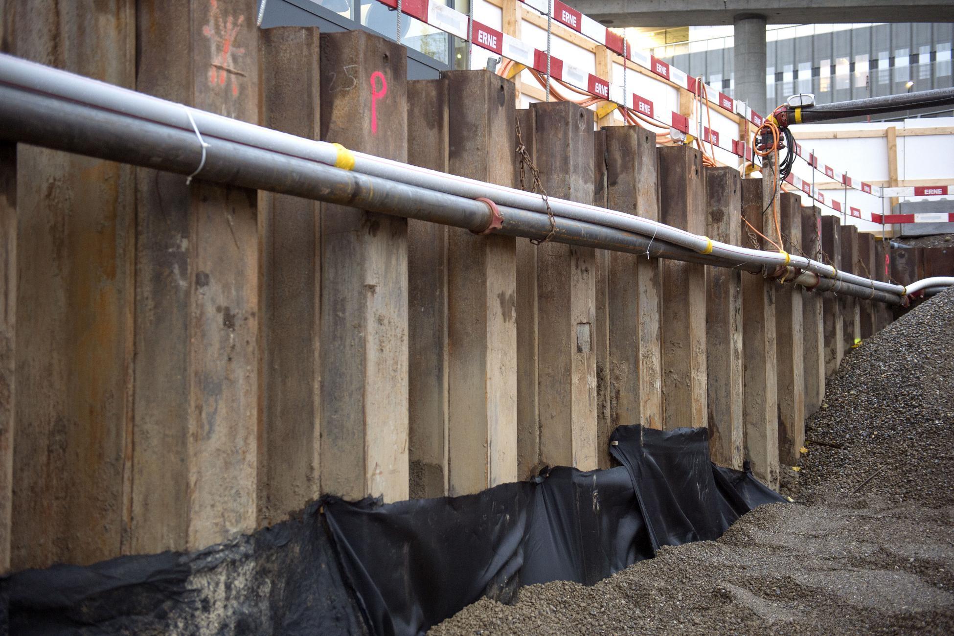 Tiefbau Baugrube KAPO Zürich Rühlwand