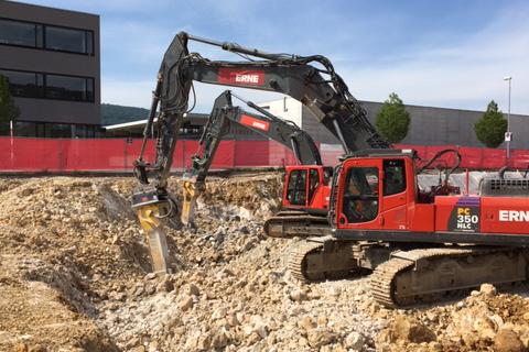 Tiefbau Olten Neubau Betriebsgeäude a.en Aushub Felsabbau