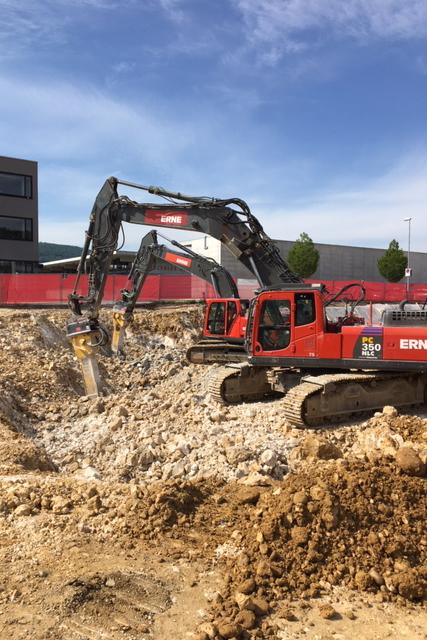 Tiefbau Olten Neubau Betriebsgebäude a.en Aushub Felsabbau
