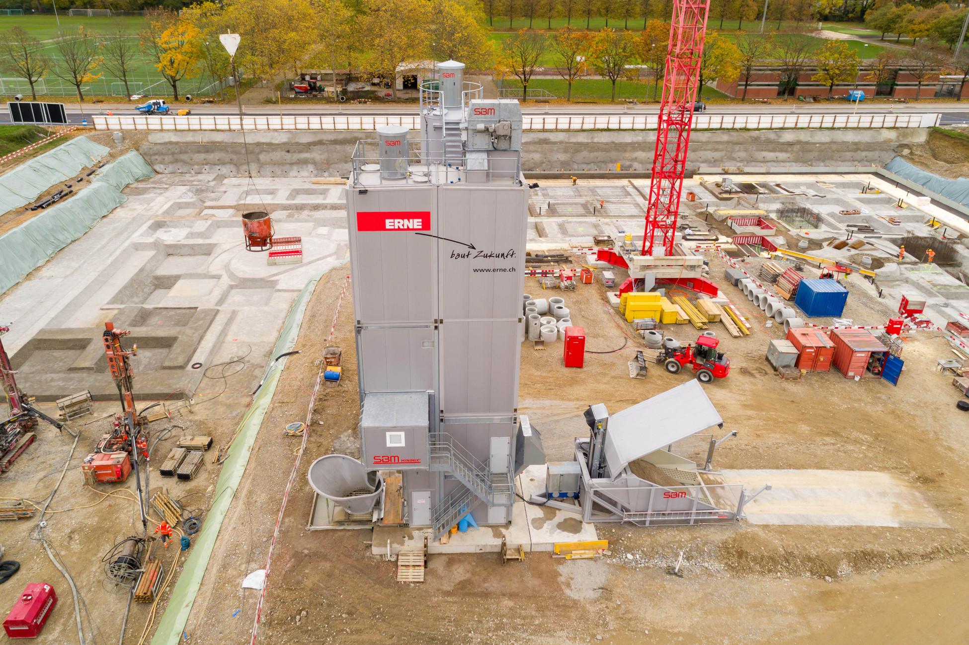 ERNE Maschinenpark mobile Betonanlage Allschwil Neubau GRID