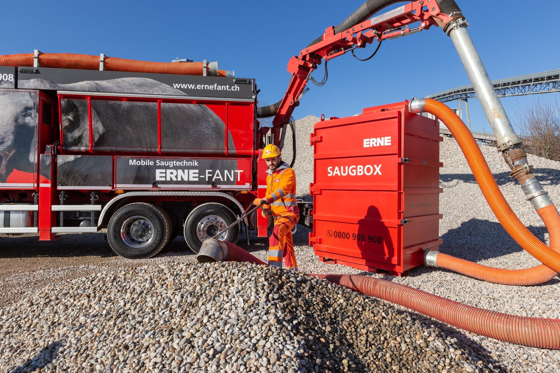 Saugbagger Saugbox ERNE-FANT Kies saugen in Bigbags