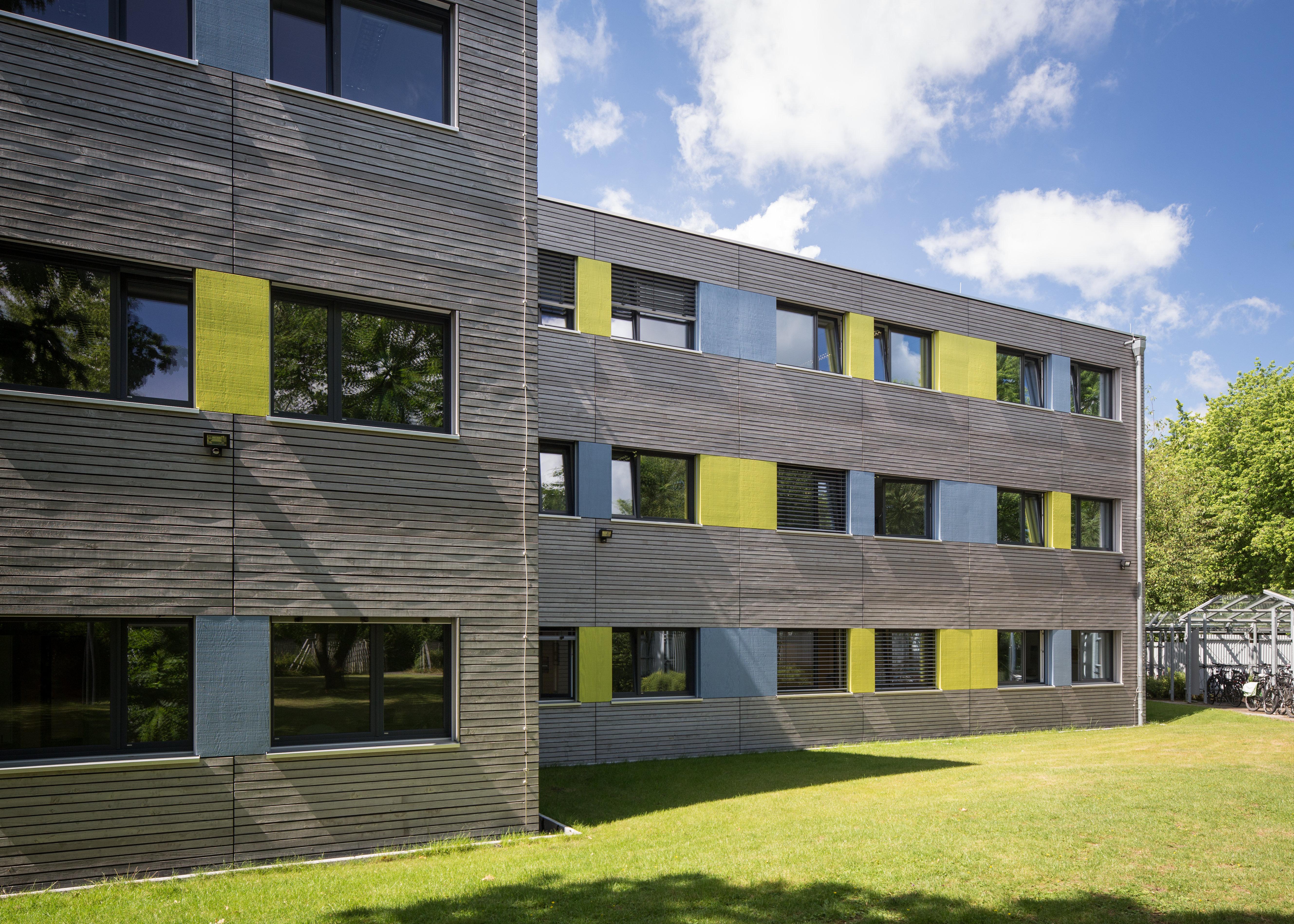 ERNE Holzbau DRV Münster temporäres Verwaltungsgebäude Modulbauweise Schallschutz